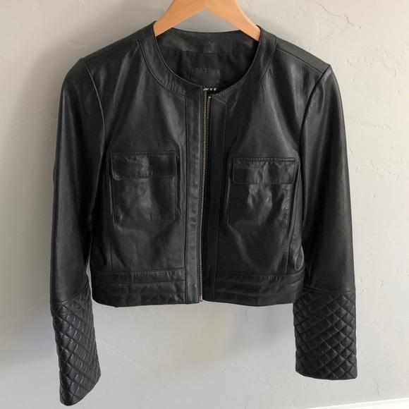Trouve Jackets Coats Black Leather Jacket Quilted Sleeve Poshmark